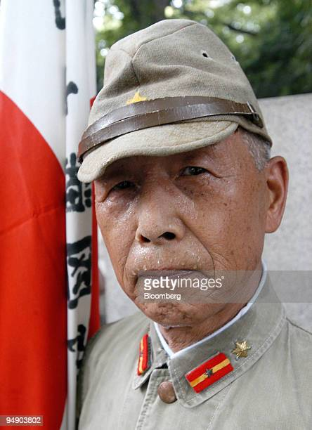 Isumi Hikari a former Japanese World War II soldier visits Yasukuni Shrine wearing a military uniform in Tokyo Monday August 15 2005 Japan today...