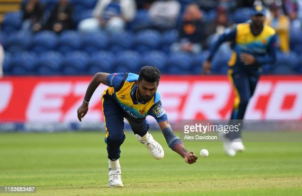 Isuru Udana of Sri Lanka attempts a catch during the Group Stage match of the ICC Cricket World Cup 2019 between Afghanistan and Sri Lanka at Cardiff...