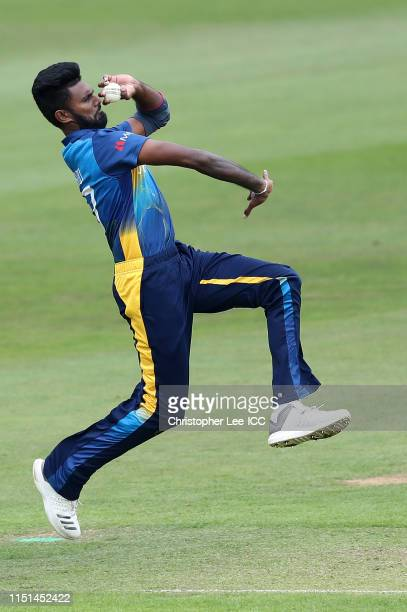 Isuru Udana of Sri Lanka bowling during the ICC Cricket World Cup 2019 Warm Up match between Sri Lanka and South Africa at Cardiff Wales Stadium on...