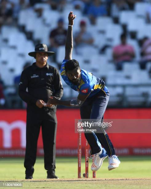 Isuru Udana of Sri Lanka bowls during the 5th Momentum ODI match between South Africa and Sri Lanka at PPC Newlands on March 16 2019 in Cape Town...