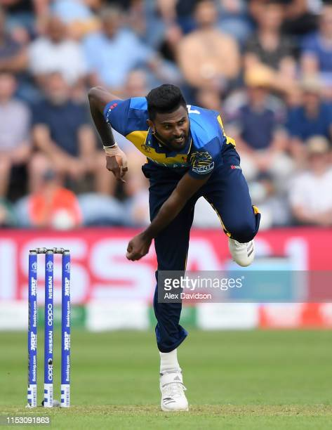 Isuru Udana of Sri Lanka bowls during the Group Stage match of the ICC Cricket World Cup 2019 between New Zealand and Sri Lanka at Cardiff Wales...