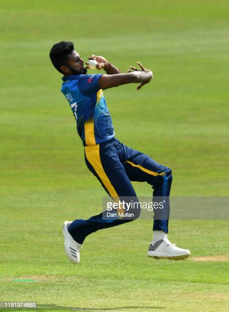 Isuru Udana of Sri Lanka bowls during the ICC Cricket World Cup 2019 Warm Up match between Sri Lanka and South Africa at Cardiff Wales Stadium on May...