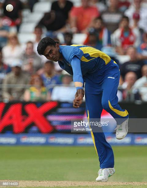Isuru Udana of Sri Lanka bowls during the ICC World Twenty20 Super Eights match between New Zealand and Sri Lanka at Trent Bridge on June 16 2009 in...