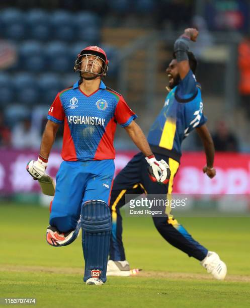 Isuru Udana of Sri Lanka celebrates as Najibullah Zadran is run out during the Group Stage match of the ICC Cricket World Cup 2019 between...