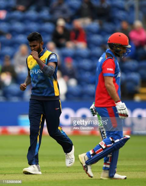 Isuru Udana of Sri Lanka celebrates taking the wicket of Rahmat Shah of Afghanistan during the Group Stage match of the ICC Cricket World Cup 2019...
