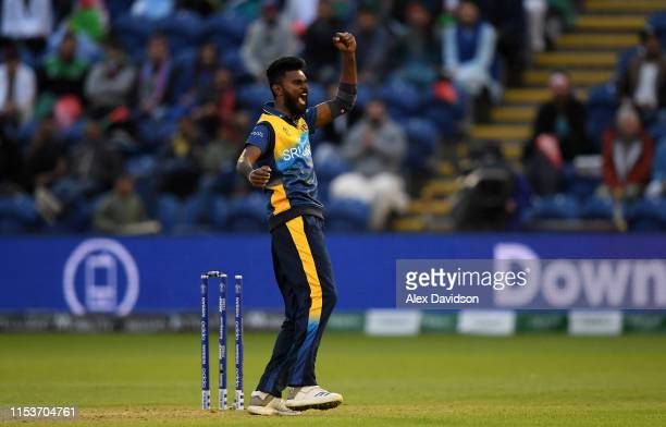 Isuru Udana of Sri Lanka celebrates the run out of Najibullah Zadran of Afghanistan during the Group Stage match of the ICC Cricket World Cup 2019...