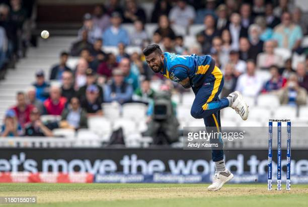 Isuru Udana of Sri Lanka in delivery stride during the Group Stage match of the ICC Cricket World Cup 2019 between Sri Lanka and Australia at The...