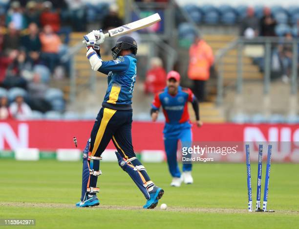 Isuru Udana of Sri Lanka is bowled during the Group Stage match of the ICC Cricket World Cup 2019 between Afghanistan and Sri Lanka at Cardiff Wales...