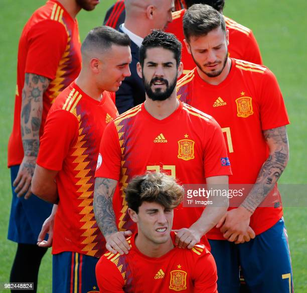 Isvo Alarcon of Spain Alvaro Odriozola of Spain Iago Aspas of Spain and Saul Niguez of Spain look on during a training session on June 6 2018 in...