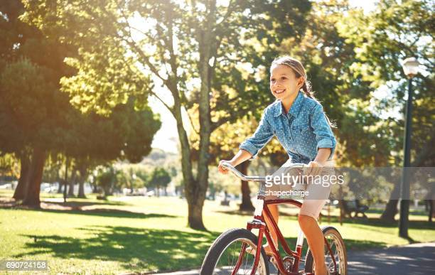 it gets more fun with every pedal - pre adolescent child stock pictures, royalty-free photos & images