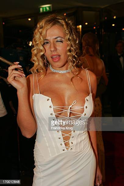 It Girl Davorka Tovilo With Cigar In The arrival to German Film Ball in Hotel Bayerischer Hof in Munich.