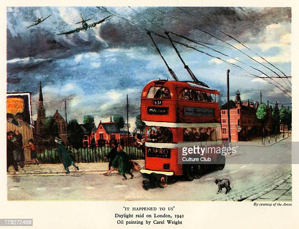'It Happened to Us' from oil painting by Carel Weight Daylight Blitz raid on London 1941 German bombers over London street during World War 2
