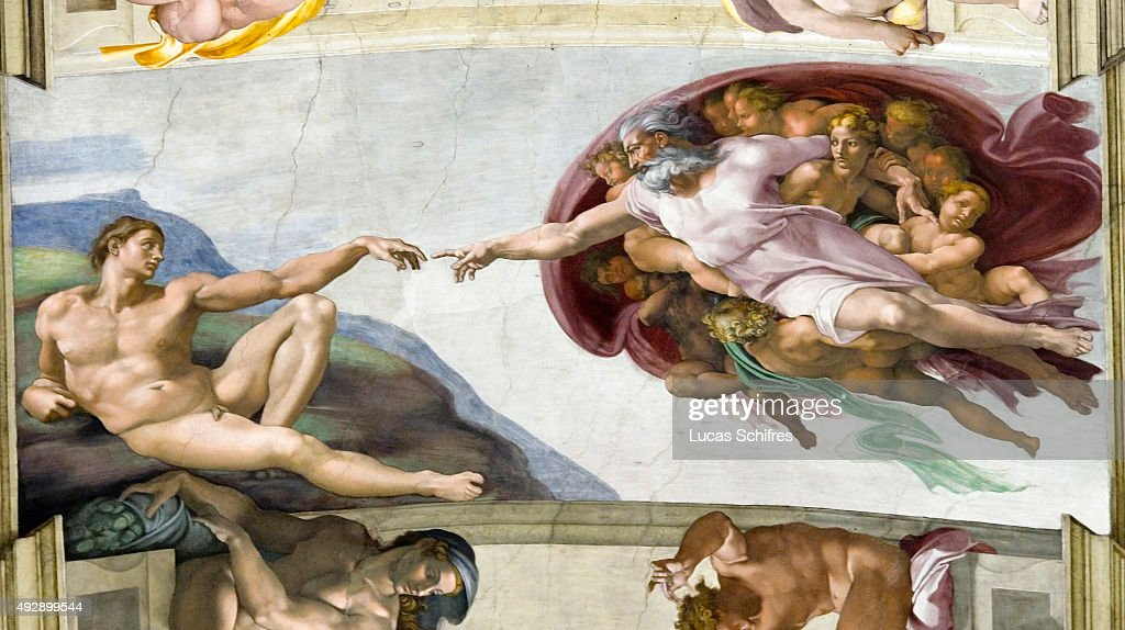 The Creation of Adam by Michelangelo... : News Photo