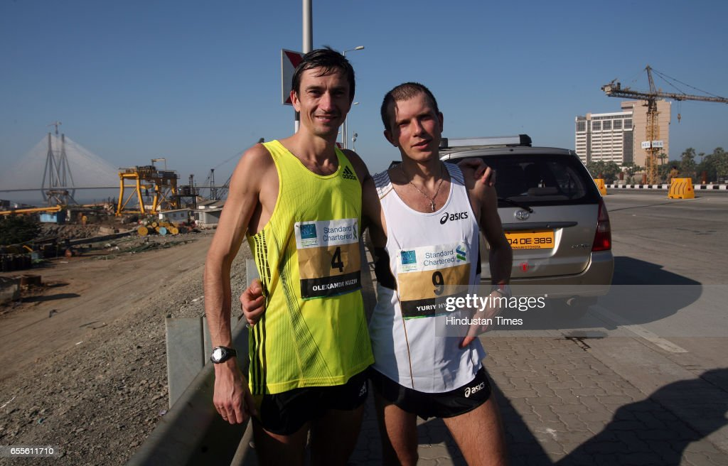 It is 10 degree C at ukraine now.Two Ukrainian Runner Olexandr Kuzin (4) and Yuriy Hychum (9) arrived here to took part at mumbai marathon in an atmosphere like 23-32 degree C along with almost sent% humidity , that leads them to end up the race at 25th KM on Bnadra worli sea link.