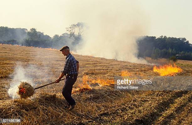 It is 1985 and a farmer walks along a line of long combustible straw and with a pitchfork and smouldering straw sets fire to the organic material in...