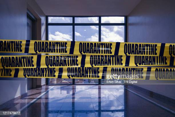 it is better to comply with quarantine and work from home - cordon boundary stock pictures, royalty-free photos & images