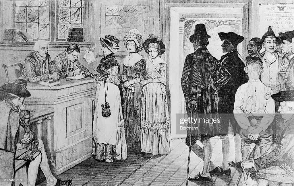 Illustration of Women Voting at Polling Place : News Photo