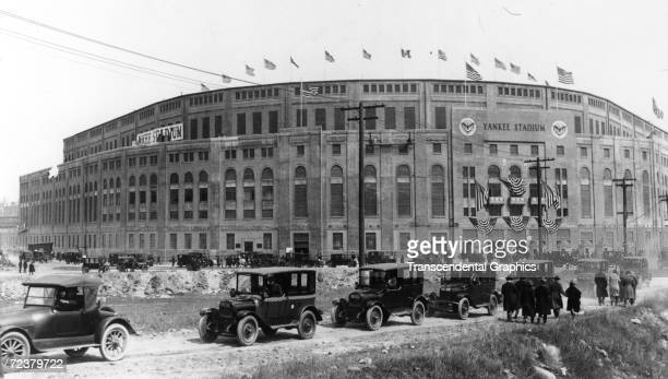 NEW YORK APRIL 18 1923 It is opening day for Yankee Stadium first day of operation on April 18 as cars and fans approach the gates
