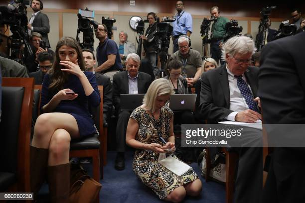 It is standing or kneeling room only as reporters inlcuding NPR National Security Correspondent Mary Louise Kelly crowd into the Senate Radio/TV...