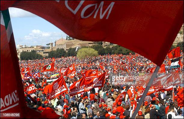 It is the biggest rally in Italian modern history - The Rally at the Circus Maximus in Rome, Italy on March 23rd, 2002.