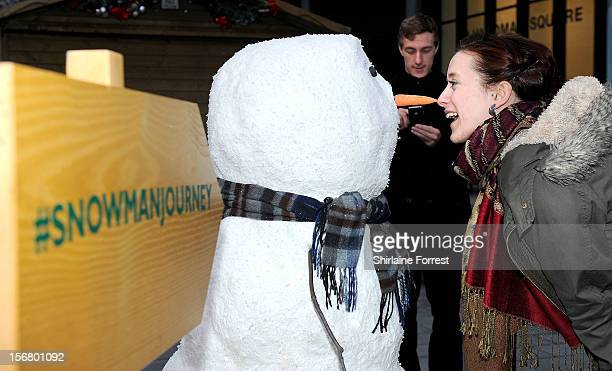 It may not be snowing but a snowman has already appeared in Manchester The star of the current John Lewis Christmas advertising campaign is making a...