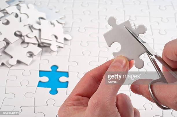 it must be the right jigsaw piece! - oops stockfoto's en -beelden