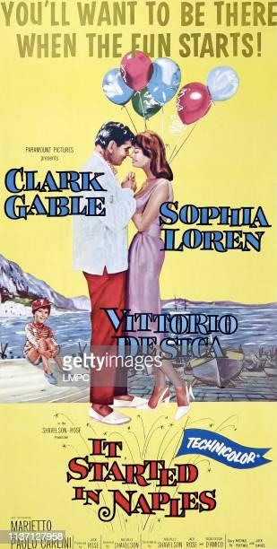 It Started In Naples poster little boy on left Marietto man in center left Clark Gable woman in center right Sophia Loren 3sheet poster art 1960