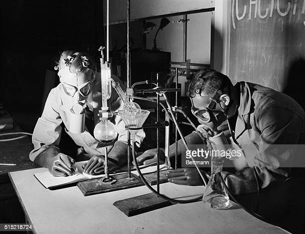 10/4/1942 It takes from 12 to 14 hours to make a batch of Mustard Gas Part of this time is taken up with purification which you see in progress here...