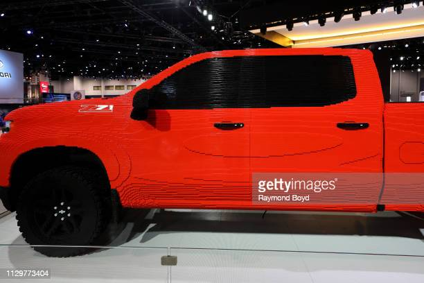 It took 334,544 LEGO bricks 000 hours and 18 trained LEGO builders using mostly red 2x8 studs, to build the LEGO Chevrolet Silverado on display at...
