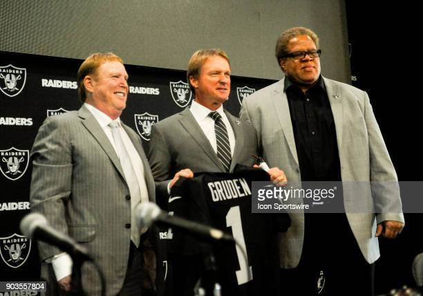 It was all smiles for Jon Gruden and Mark Davis after the Jon Gruden Press Conference on January 9 2017 at Raiders Headquarters in Alameda CA