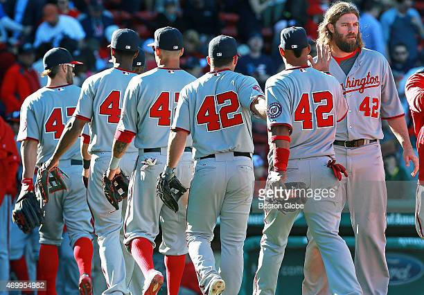 It was Jackie Robinson Day all around major league baseball and in his honor all players coaches and umpires wore his number 42 Here the Nationals'...
