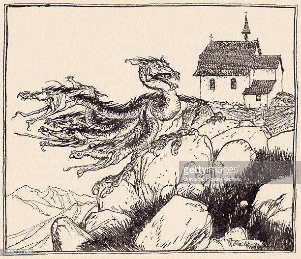 It Was Not Long Before The Seven Headed Dragon Came Loudly Roaring Illustration By Arthur Rackham From Grimm's Fairy Tale The Two Brothers
