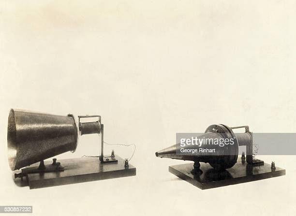 It was over this instrument that the first Hello sounded Alexander Graham Bell's first telephone transmitter and receiver patented March 7 1876