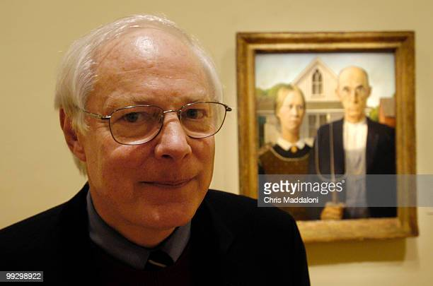 Rep Jim Leach RIa poses in front of Grant Wood's 'American Gothic' at the Renwick museum Wood who painted in much of his district will have a...