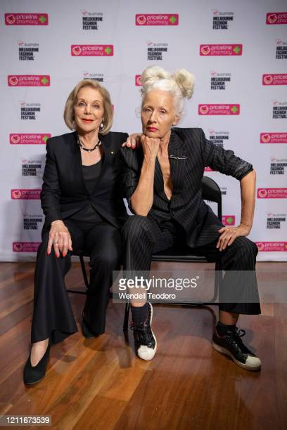 Ita Buttrose and Sarah Jane Adams pose backstage ahead of the Beauty Runway at Melbourne Fashion Festival on March 11 2020 in Melbourne Australia