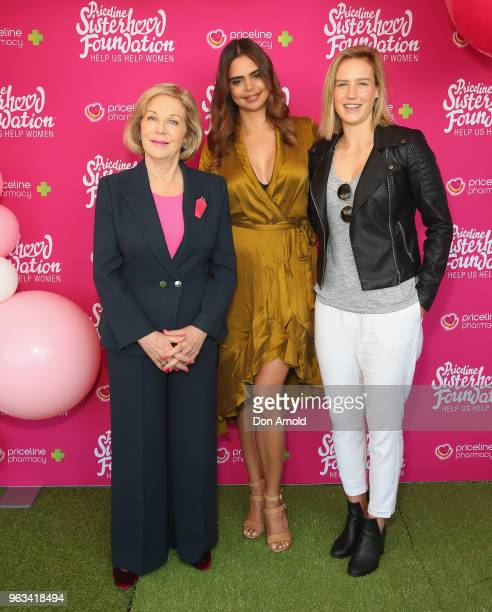 Ita Buttrose Samantha Harris and Ellyse Perry pose during the launch of Misterhood for the Sisterhood campaign on May 29 2018 in Sydney Australia