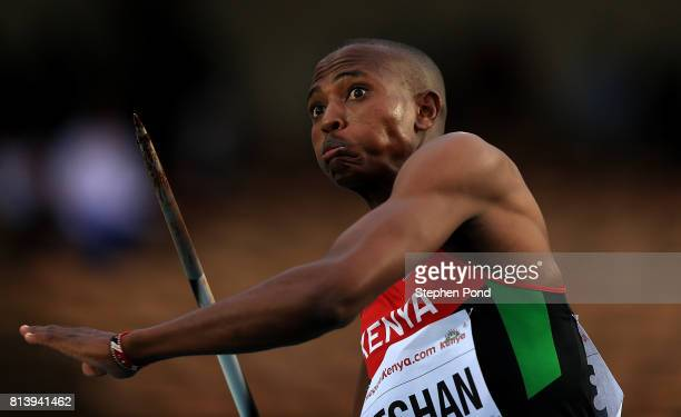 Ita Nao Leshan of Kenya throws during the final of the boys javelin on day two of the IAAF U18 World Championships at the Kasarani Stadium on July...