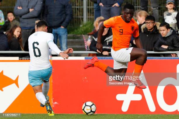 Itai Ben Hamo of Israel U17 Brian Brobbey of Holland U17 during the match between Holland U17 v Israel U17 at the Sportpark Zegersloot on March 23...