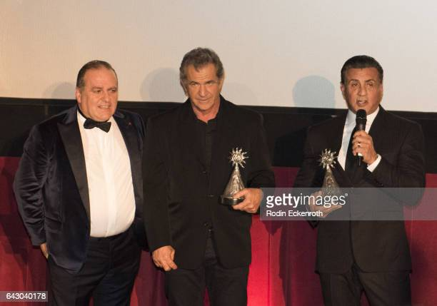 LAItalia Film Fashion and Art Festival founder Pascal Vicedomini and actors/directors Mel Gibson and Sylvester Stallone speak onstage at the 12th...