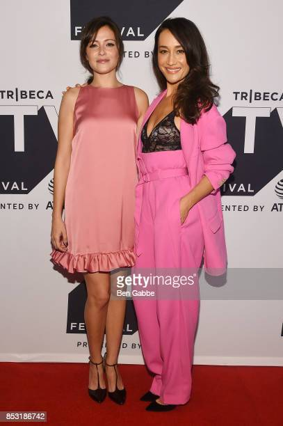 Italia Ricci and Maggie Q attend the Tribeca TV Festival season premiere of Designated Survivor at Cinepolis Chelsea on September 24 2017 in New York...