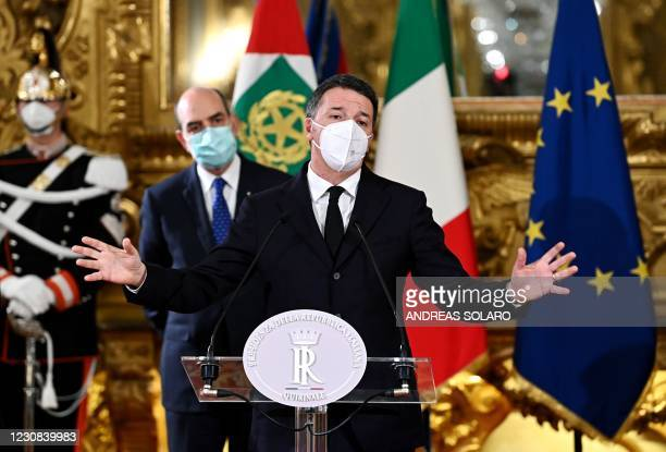 """""""Italia Viva"""" party leader Matteo Renzi answers journalists' questions at the Quirinale palace in Rome on January 28 after a meeting with the Italian..."""
