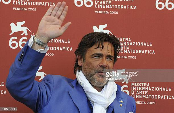 Italian actor Alberto Petrolini poses during the photocall of Hotel Courbet at the Venice film festival on September 11 2009 Hotel Courbet is...