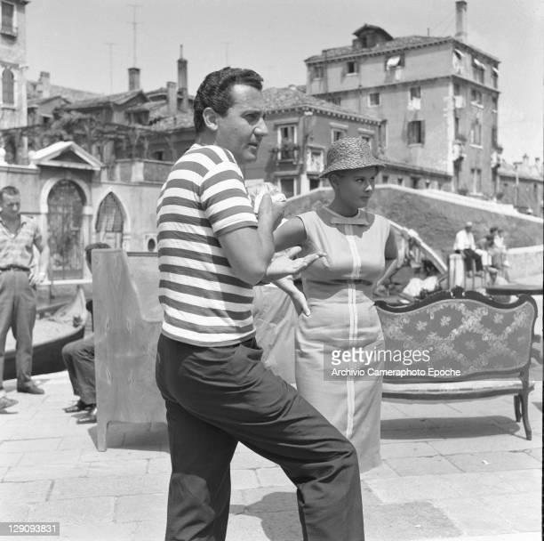 Italian actor Alberto Sordi on the set of the movie Venezia la luna e tu Venice 1958