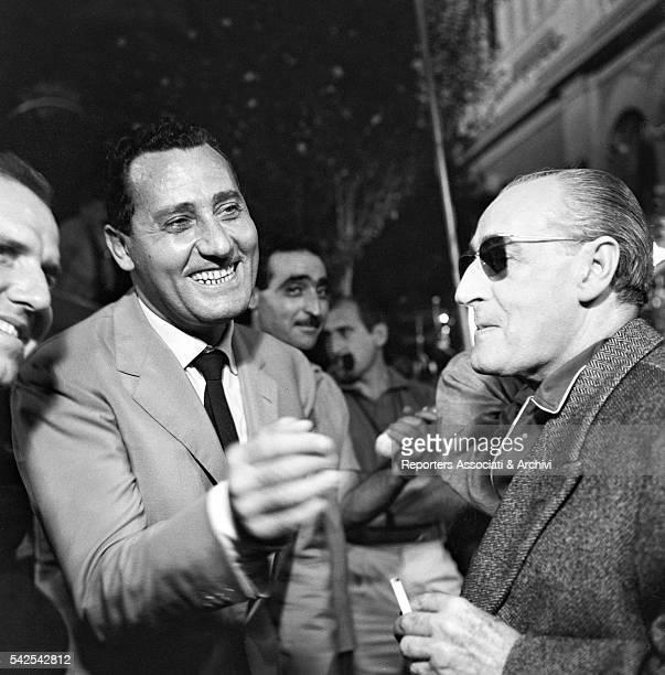 Italian actor Alberto Sordi visiting Italian director Paolo Heusch and Italian actor Totò on the set of Il comandante Rome 1963
