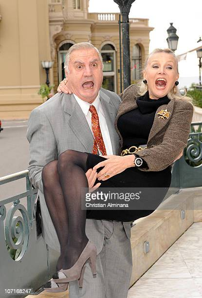 Italian actor Aldo Maccione and US actress Barbara Bouchet attend a photocall during the 10th Monte Carlo Film Festival at Hotel de Paris on November...