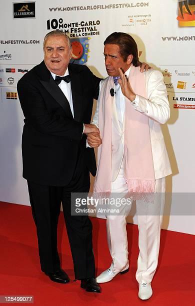 Italian actor Aldo Maccione and Valentino arrive to attend the Awards ceremony at Grimaldi Forum on November 27 2010 in MonteCarlo Monaco