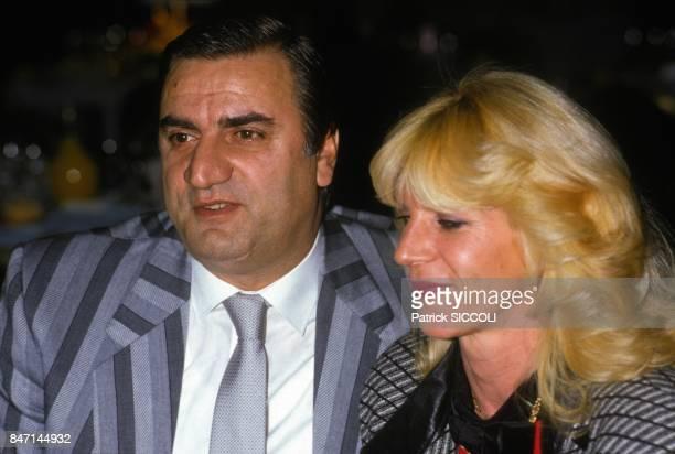 Italian actor Aldo Maccione and wife at MonteCarlo Television Festival in February 1986 in Monaco