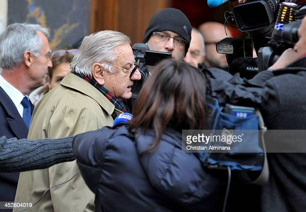 Italian actor Aldo Maccione attends the funeral of director Georges Lautner on November 30 2013 in Nice France