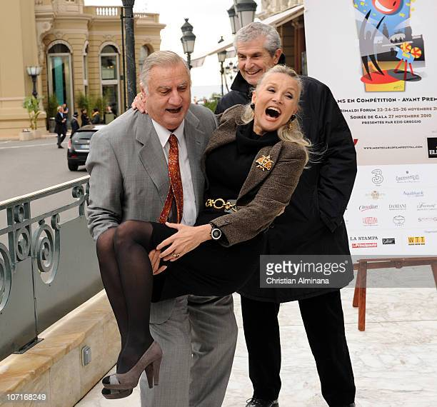 Italian actor Aldo Maccione , US actress Barbara Bouchet and french director Claude Lelouch attend a photocall during the 10th Monte Carlo Film...