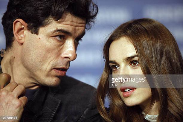 Italian actor Alessandro Gassman son of late actor Vittorio Gassman and Polish actress Kasia Smutniak pose are pictured during a press conference...
